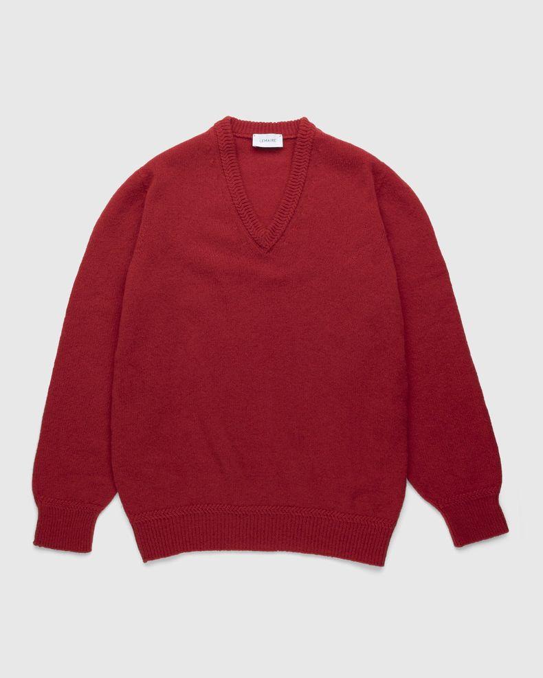 Lemaire – Seamless Shetland Wool V-Neck Sweater Poppy Red