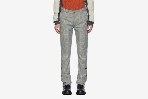 Check Woolmark Split Hem Trousers