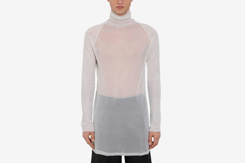Transparent Silk Knit Turtleneck Sweater