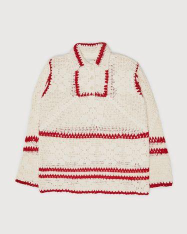 BODE - Mockneck Crochet Pullover White Red