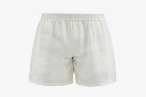 Logo-Embroidered Linen Shorts