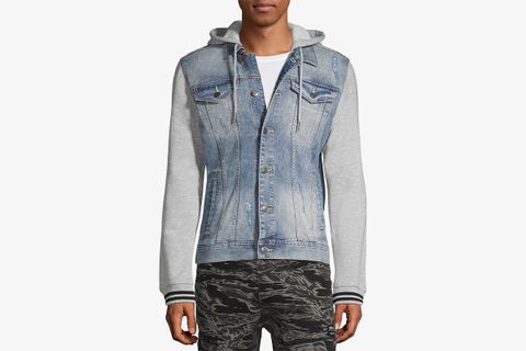 Denim Jacket with Fleece Hood