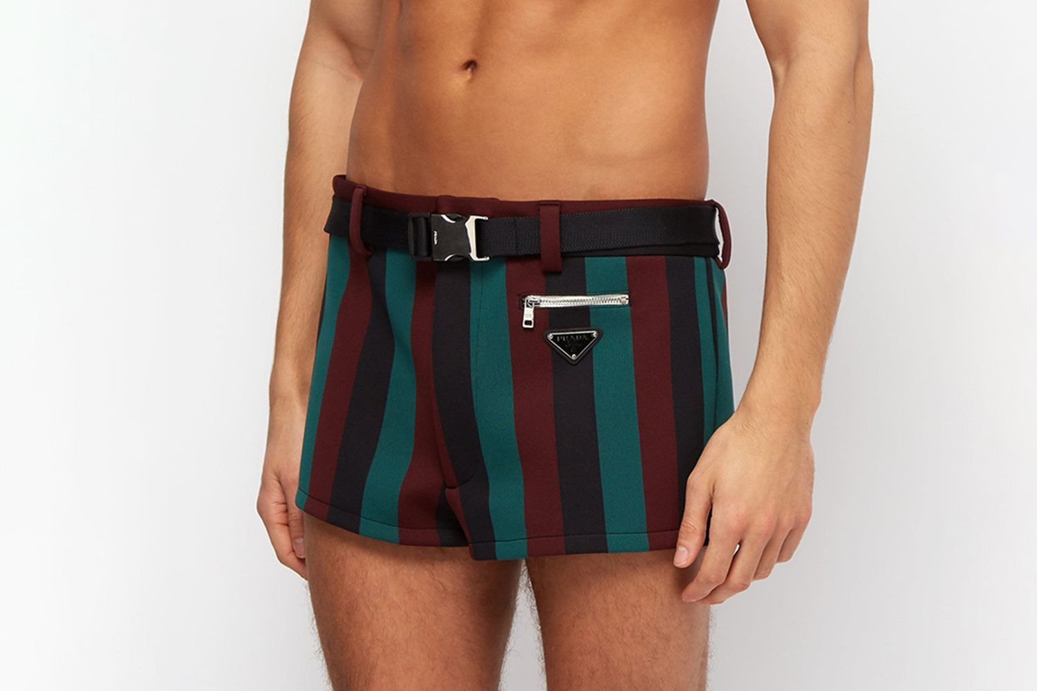 Belted Striped Swim Shorts