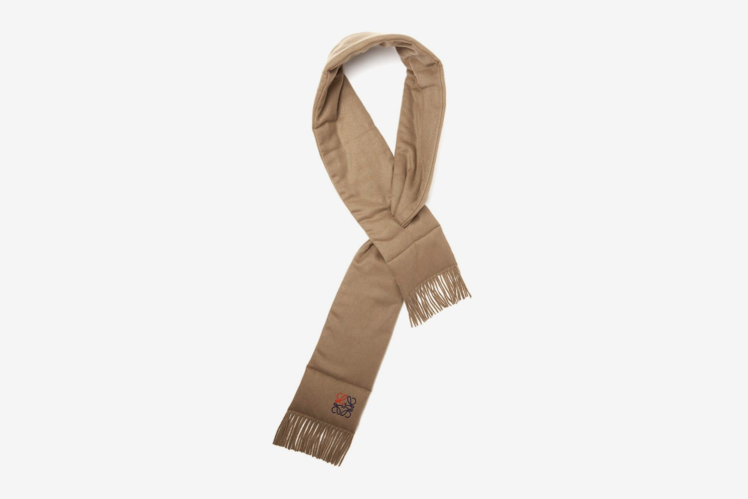 Anagram Embroidered Padded Cashmere Scarf