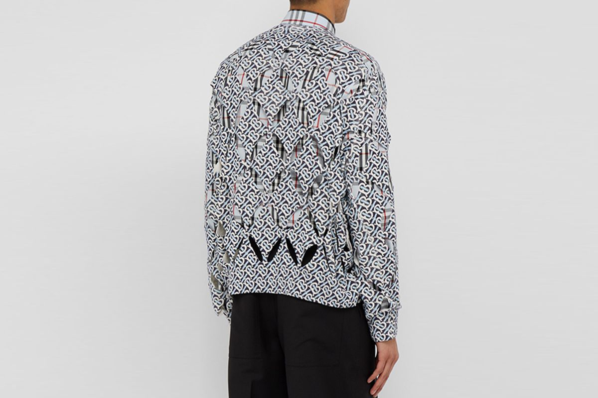 Monogram-Print Cut-Out Silk Sweater
