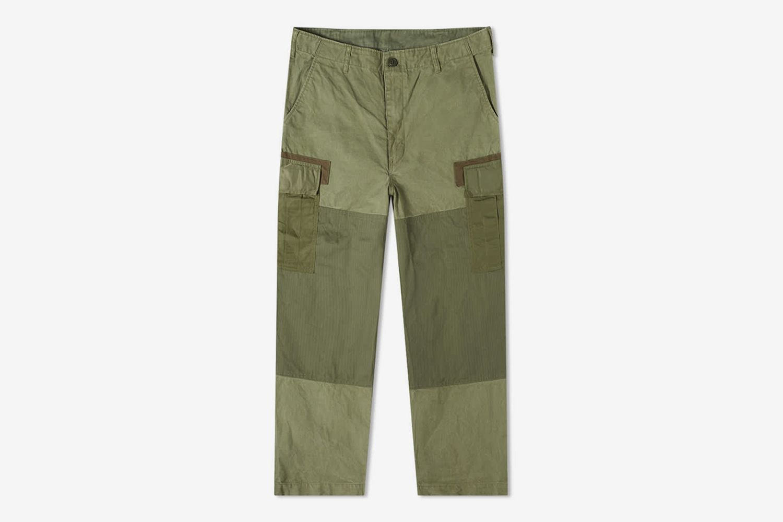 Garment Dyed Multi Fabric Cargo Pant