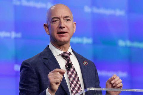 Jeff Bezos giving a speech in Washington DC