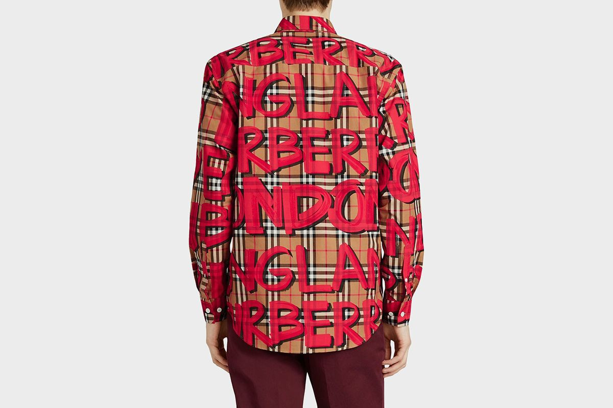 Graffiti print Check Shirt