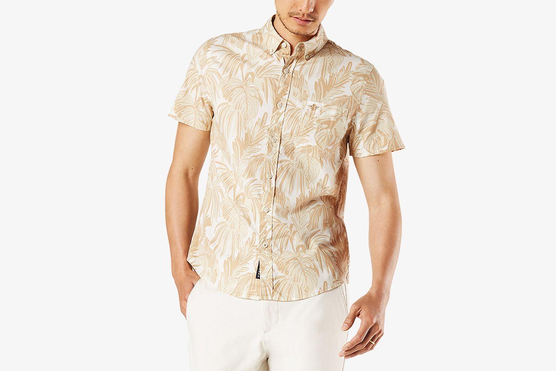 Men's Slim-Fit Fern Print Alpha Icon Short Sleeve Shirt