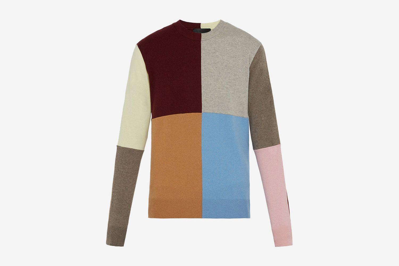 Patchwork Cashmere-Blend Crew-Neck Sweater