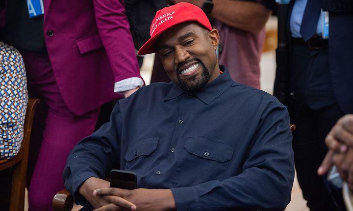 Kanye West wears MAGA hat