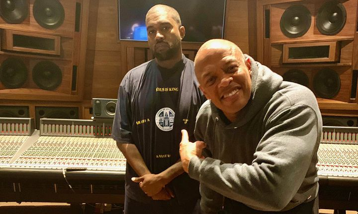 kanye west and dr Dre in the studio