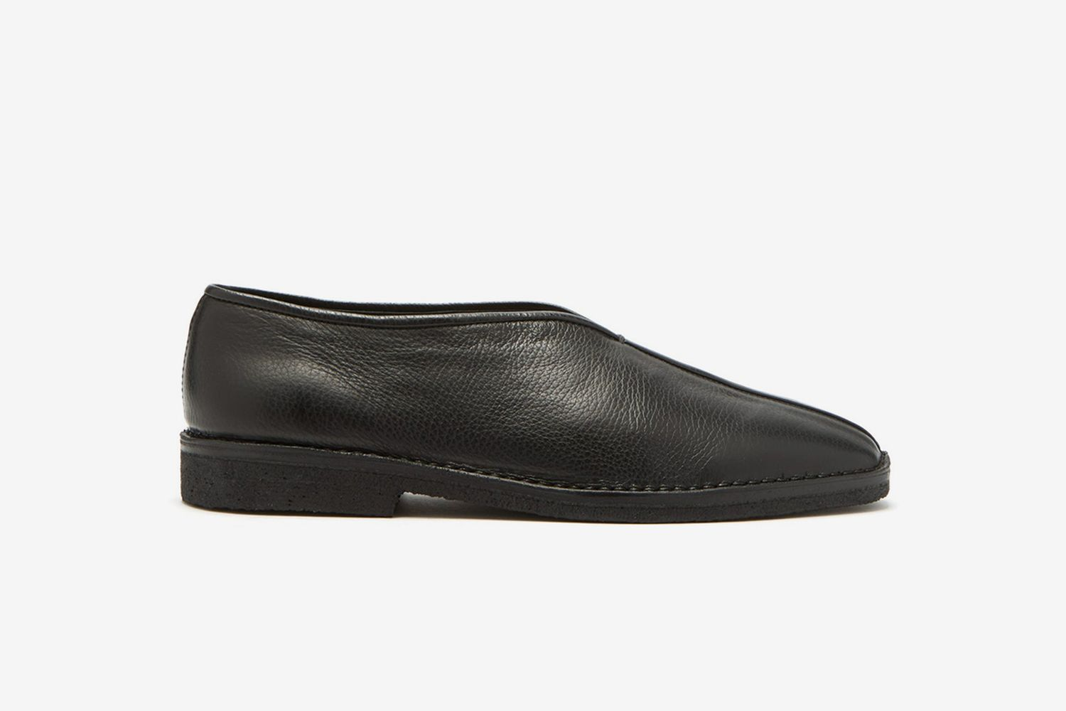 Grained Leather Slippers