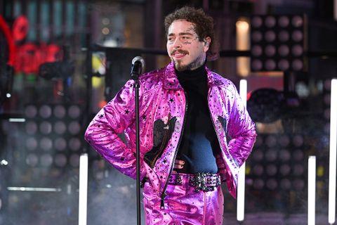 Post Malone performing pink jacket