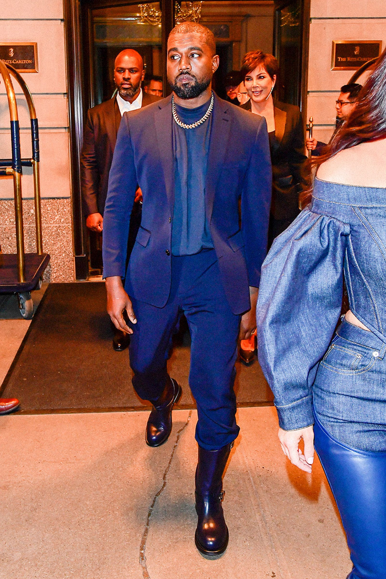 Kanye West Navy Suit and Riding Boots