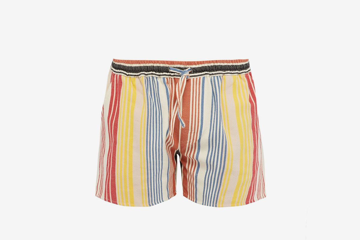 Striped Mid Rise Cotton Blend Shorts