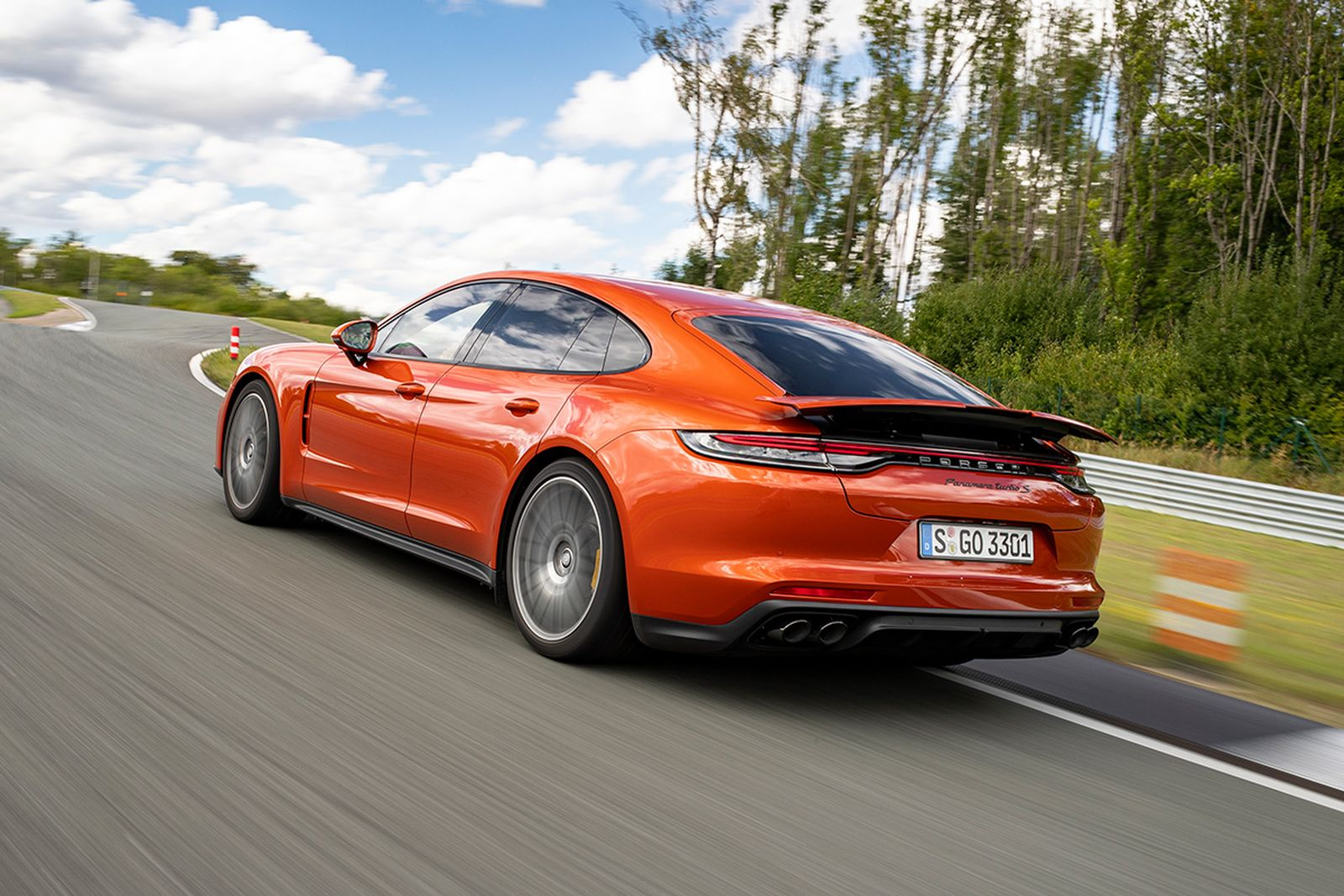 A flashy Papaya Metallic was the chosen launch color for the new Panamera Turbo S