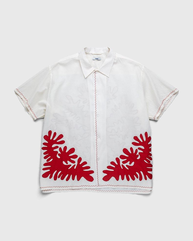 BODE — Setting Cut-Out Appliqué S/S Shirt Natural Red