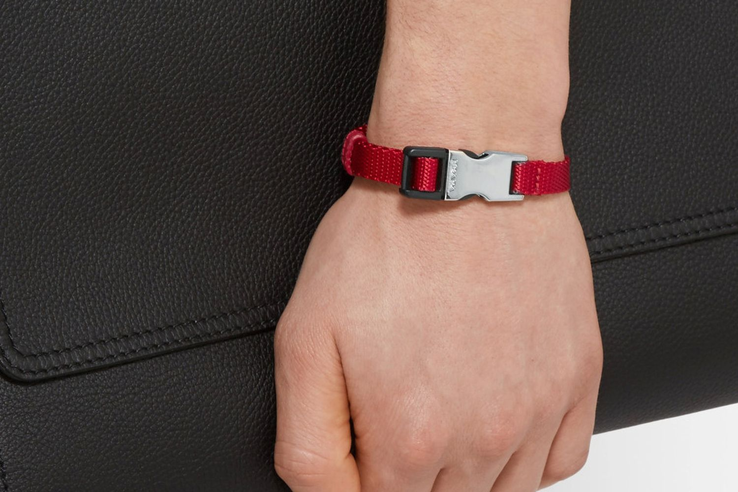 Saffiano Leather-Trimmed Webbing Bracelet