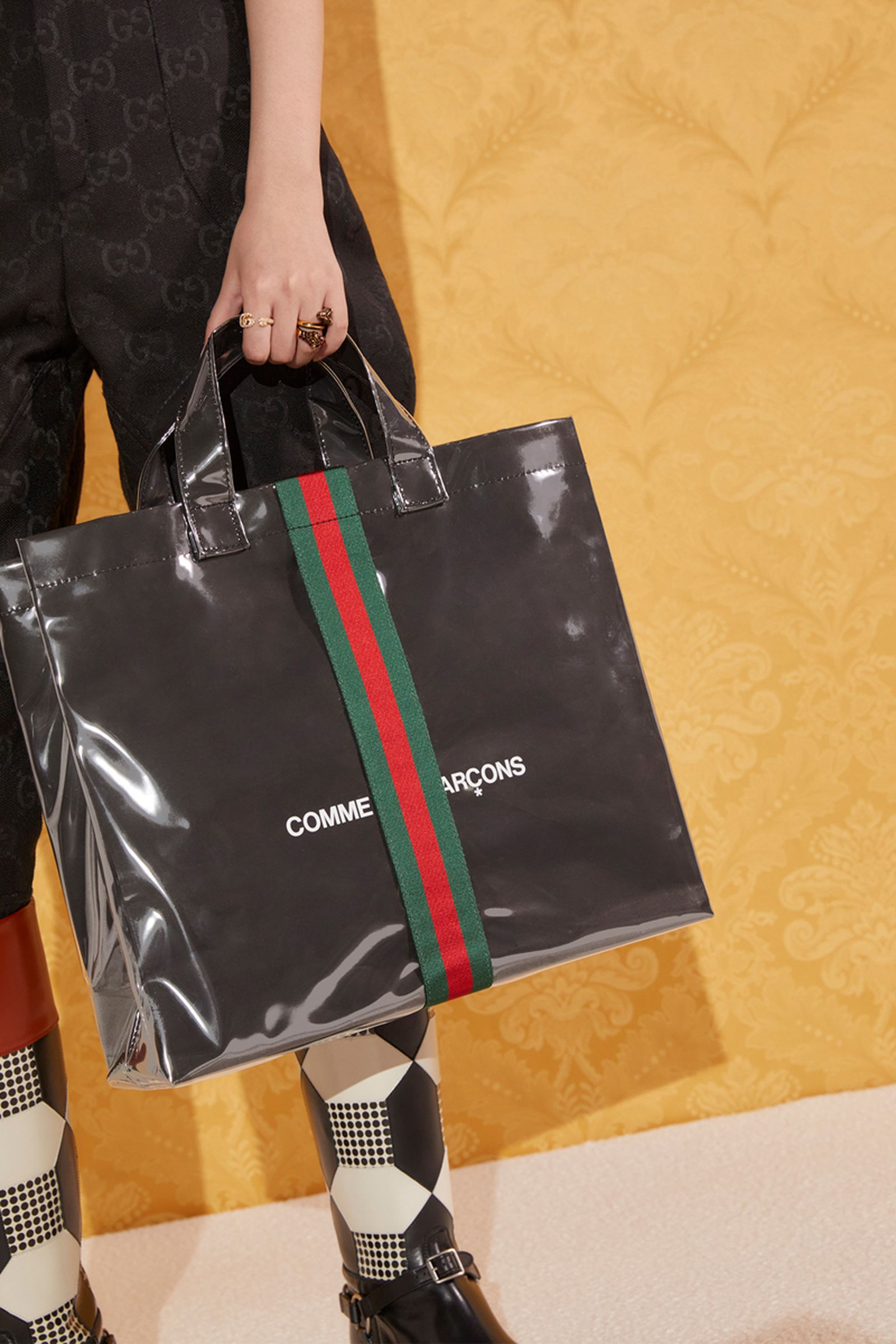 comme des garcons cdg gucci tote shopper bag collab release date info buy price