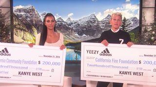 kim kanye wildfire donation ellen kanye west kim kardashian