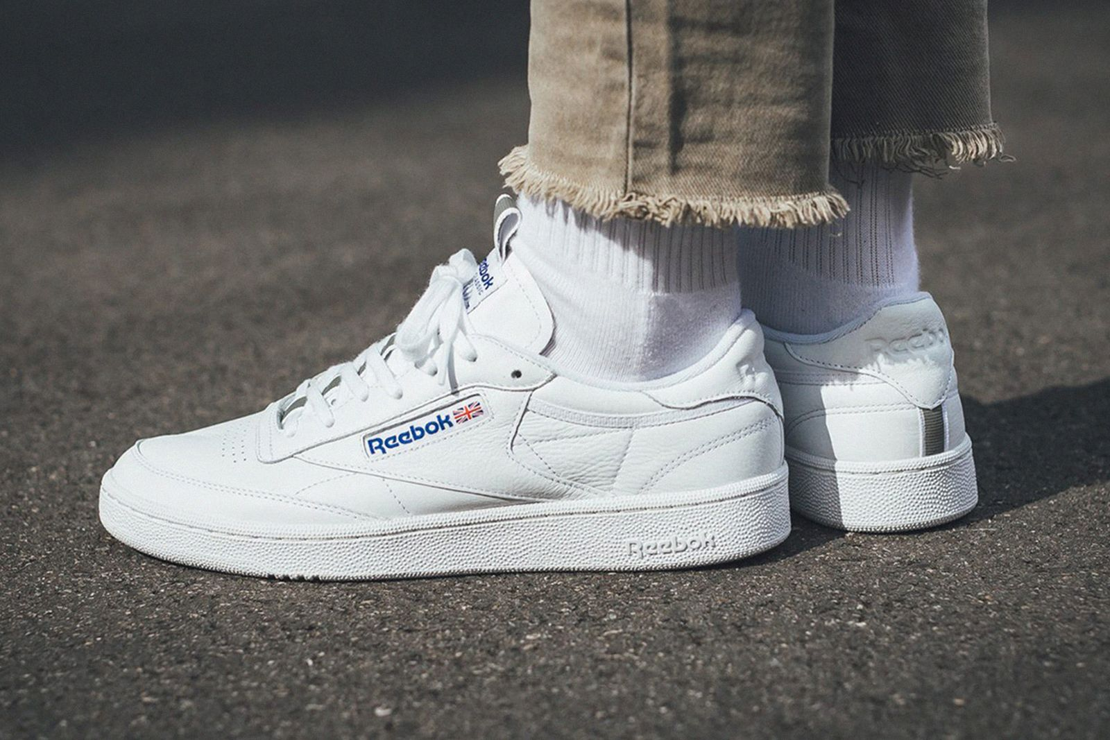 reebok club c white leather side view on-foot shot