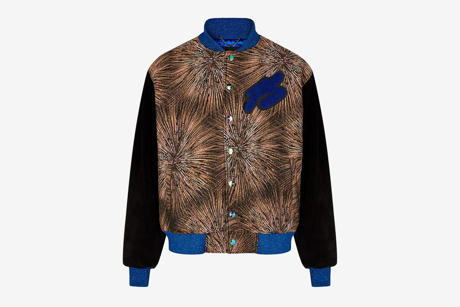 Brocade and Suede Bomber Jacket