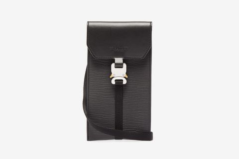 Mini Safety-Buckle Leather Pouch