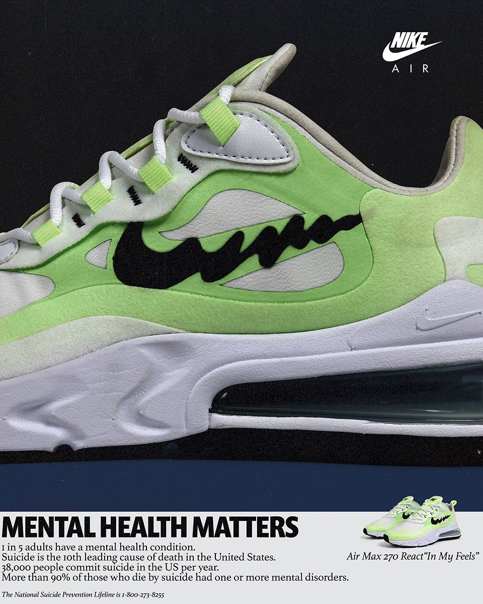 official photos 71d95 8e252 Nike Promotes Mental Health Awareness With Air Max 270 React ...