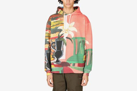 Printed Cotton Blend Jersey Hoodie