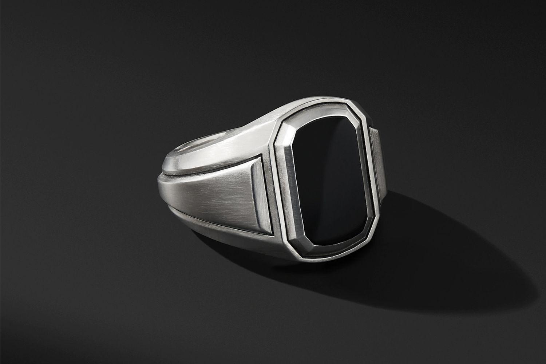 Deco Signet Ring w/ Black Onyx
