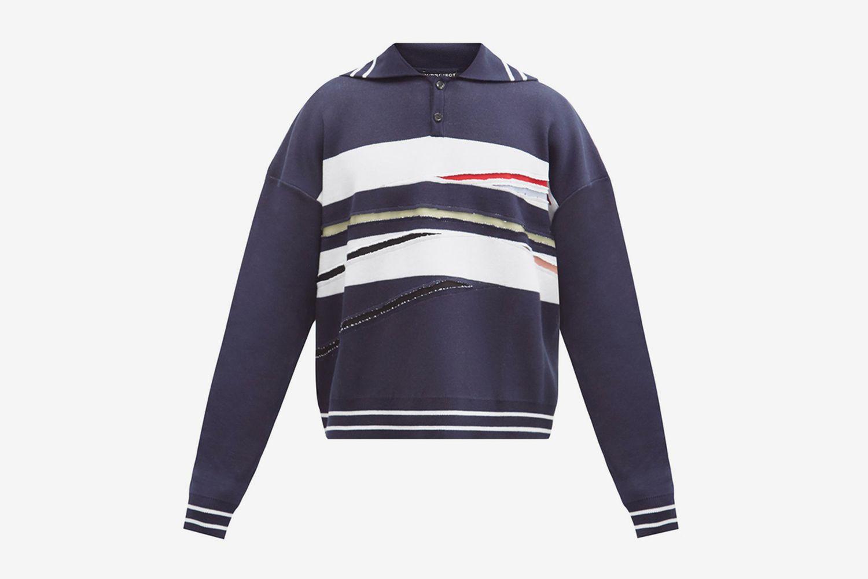Slashed Polo Sweater