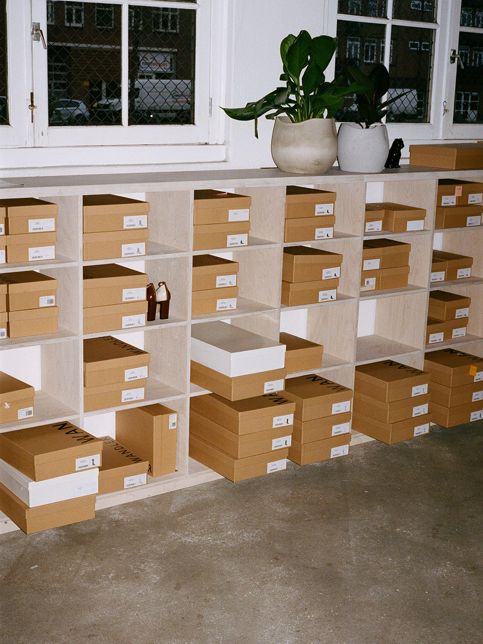 A selection of eco-friendly Wandler shoe boxes, made in the same factory as some of the world's biggest luxury houses.
