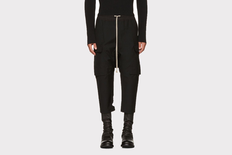 Black Wool Drawstring Cropped Cargo Pants