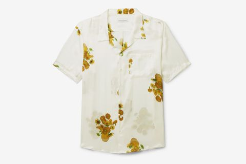 Van Gogh Camp-Collar Printed Silk-Satin Shirt
