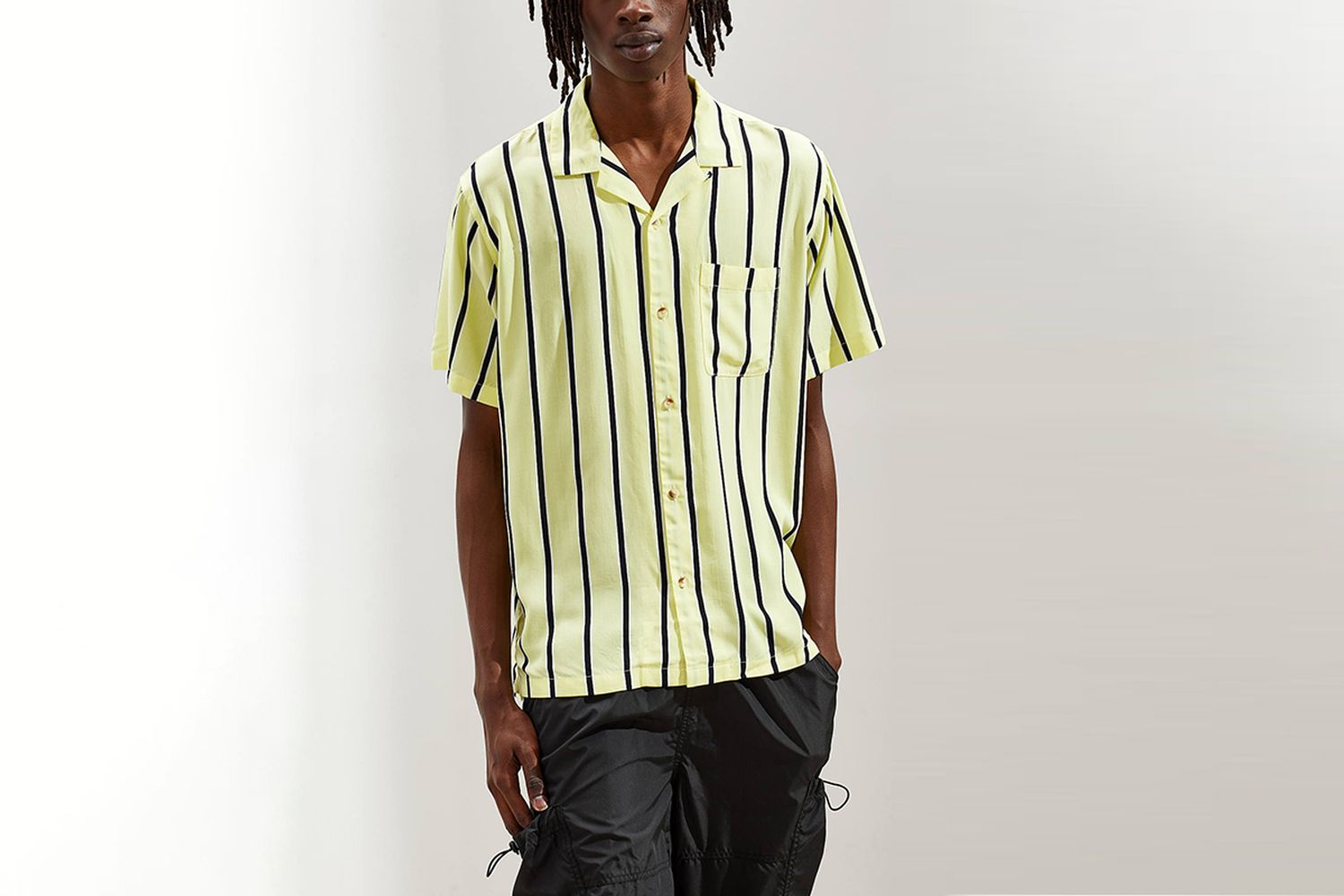 Sport Striped Rayon Short Sleeve Button-Down Shirt