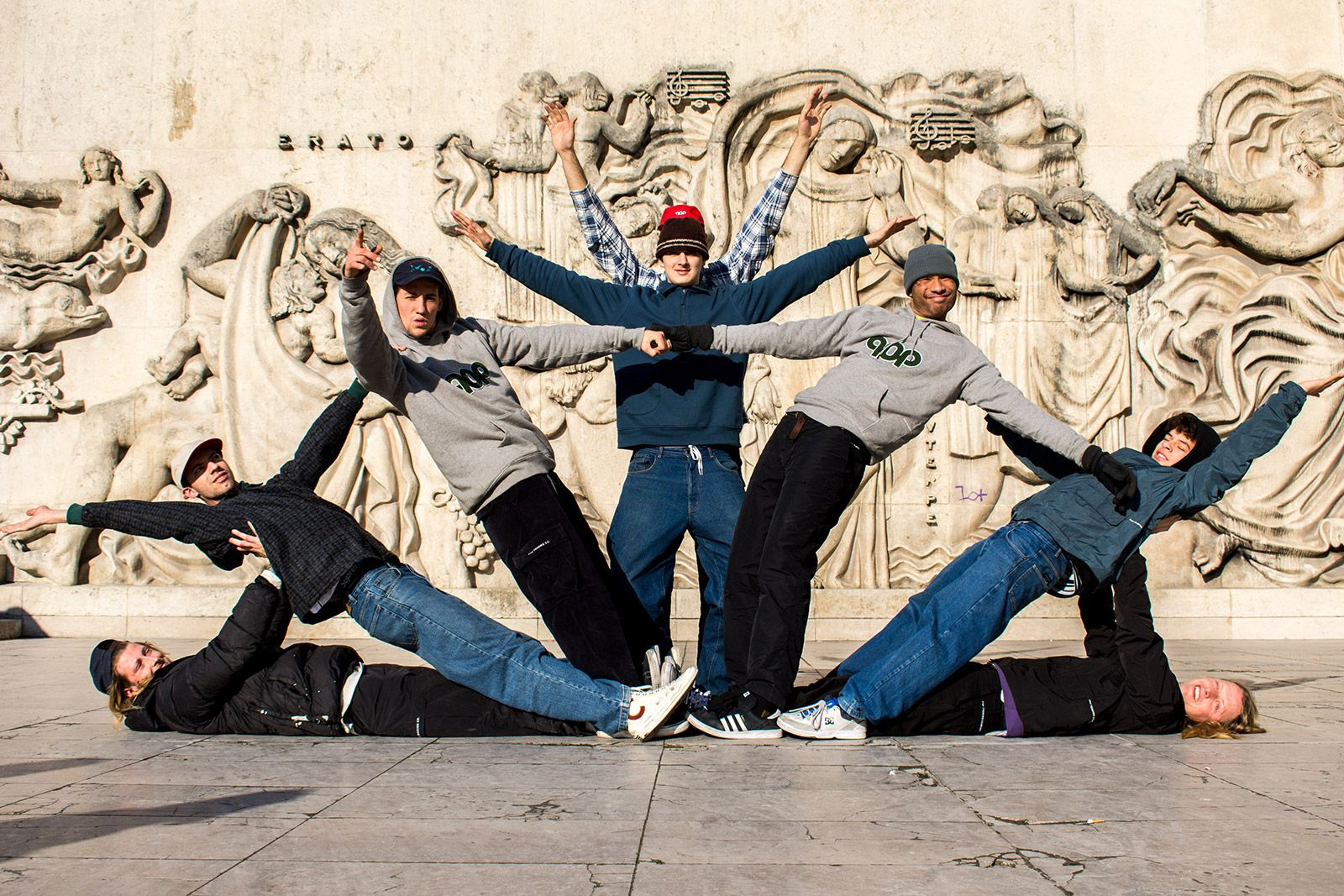Pop Trading Company's riders forming a human tower on a skate trip to Paris.