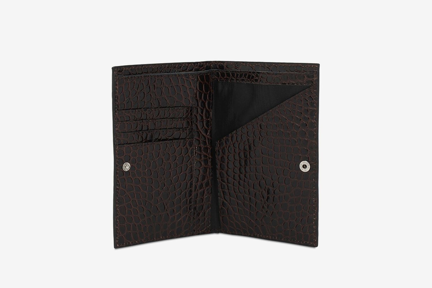 Croc Embossed Leather Wallet W/ Strap