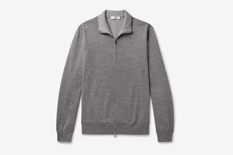 Melangé Merino Wool-Blend Zip-Up Sweater