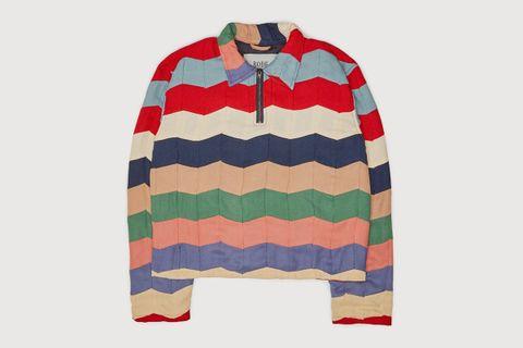 Chevron Quilt Zip Pullover
