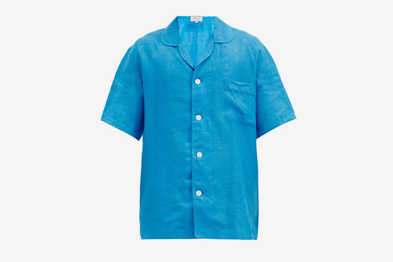 Curved-Collar Short-Sleeved Linen Shirt