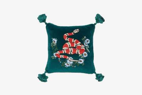 Kingsnake-Embroidered Velvet Cushion