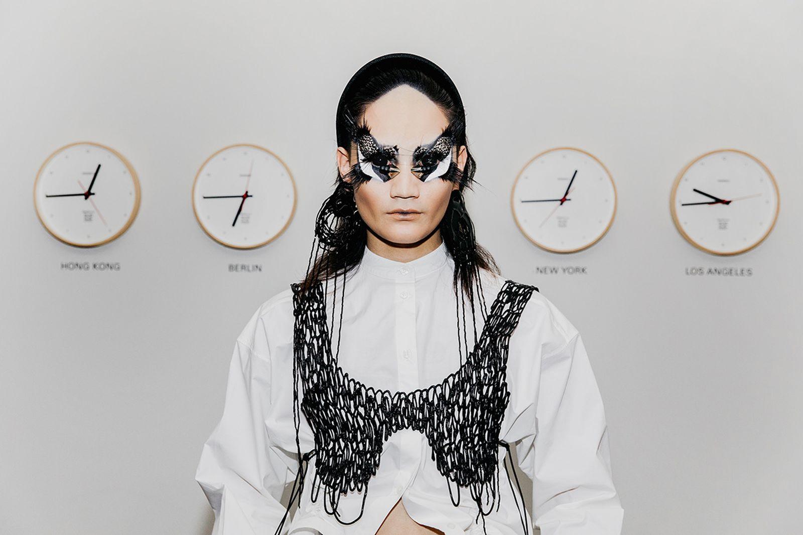 Shirt, Bra, Earrings: Kasia Kucharska, Trousers: Alexandru Plesco, Shoes: Christian Dior