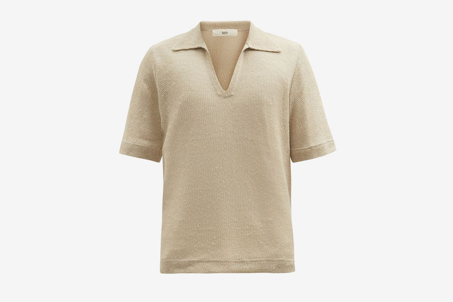 Open-Collar Linen Polo Shirt