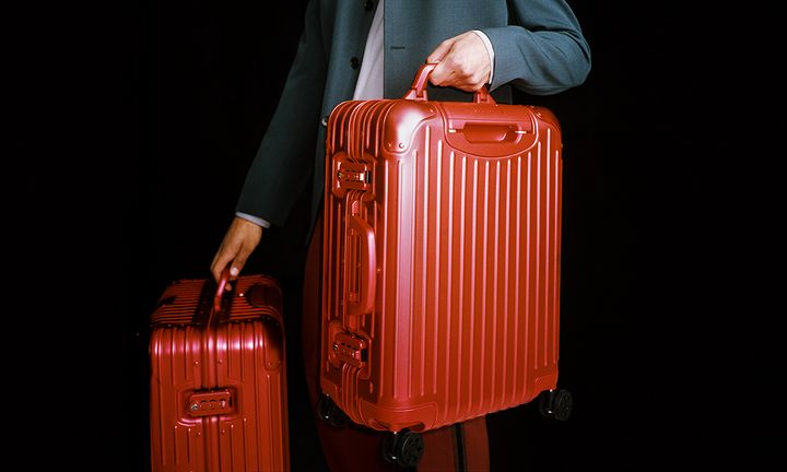 RIMOWA red aluminum luggage