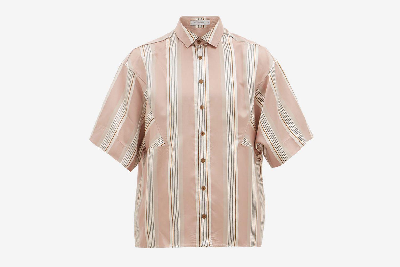 Joseph Oversized-Sleeve Striped-Satin Shirt