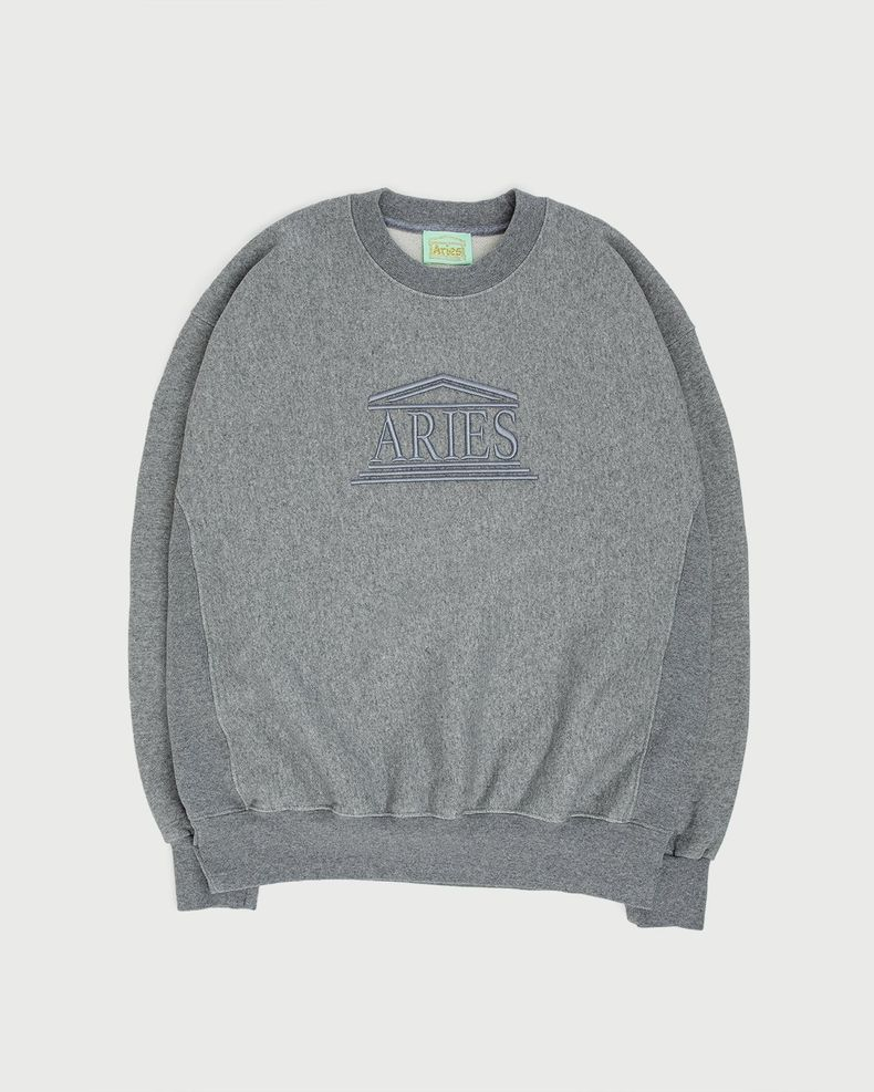 Aries — Embroidered Temple Sweatshirt Unisex Grey
