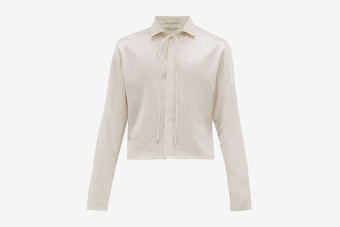 Cropped-hem Drawstring-neck Satin Shirt