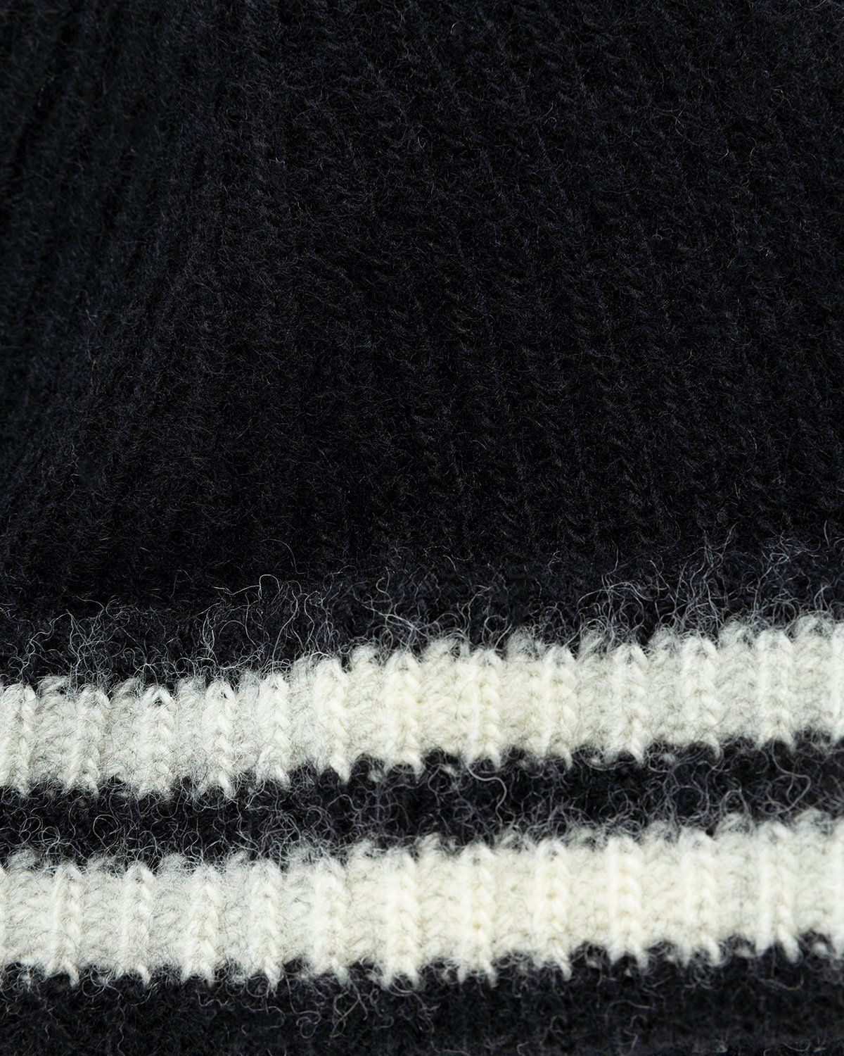 Our Legacy – Knitted Stripe Hat Black Ivory Wool - Image 4