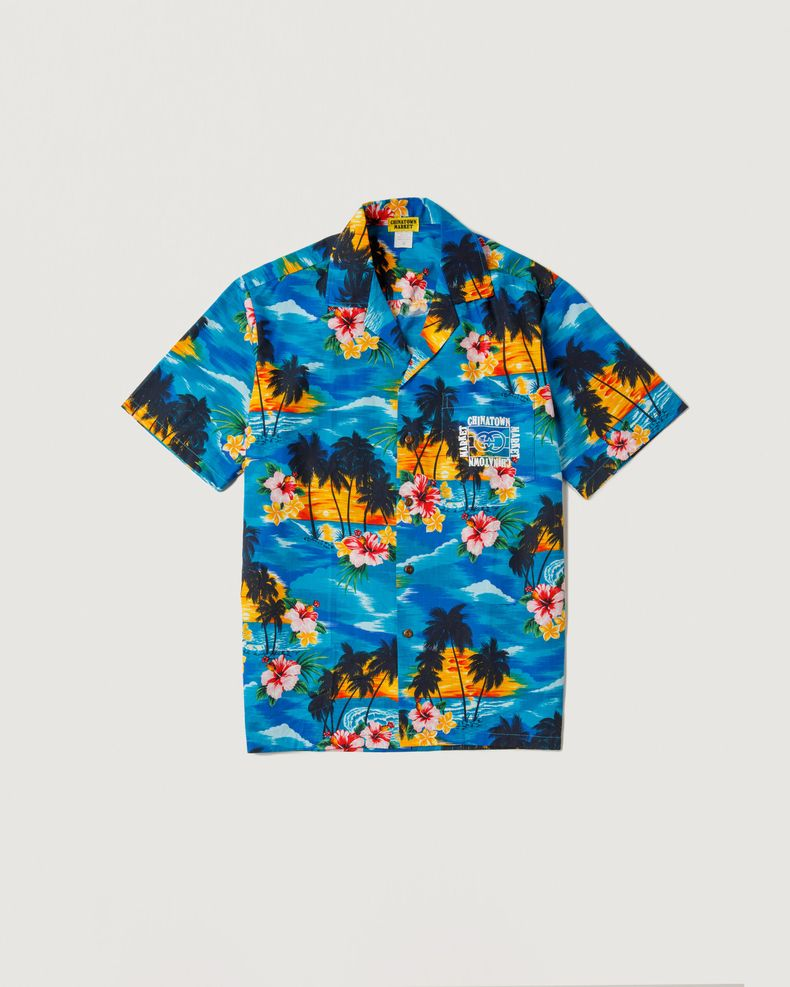 Chinatown Market — Smiley Hawaiian Shirt Blue
